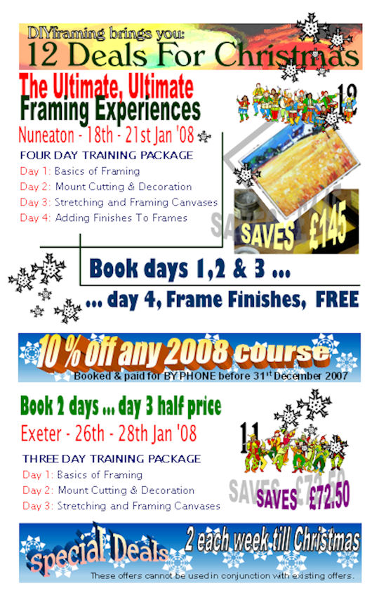 special offers, christmas deals, free traing days and money off 2008 courses