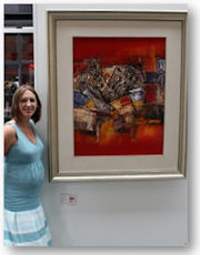 Hilary Simms with Artwork at Spitalfields