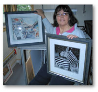 Janet with examples of top quality bespoke framing.