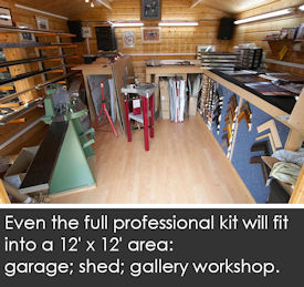 A full, professional kit will fit into an area 12 feet by 12 feet